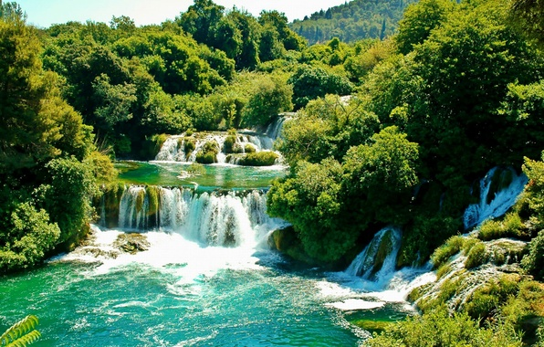 Картинка зелень, деревья, водопад, солнечно, Хорватия, Croatia, Krka National Park