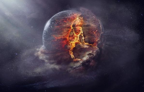 Картинка explosion, fire, planet, destruction