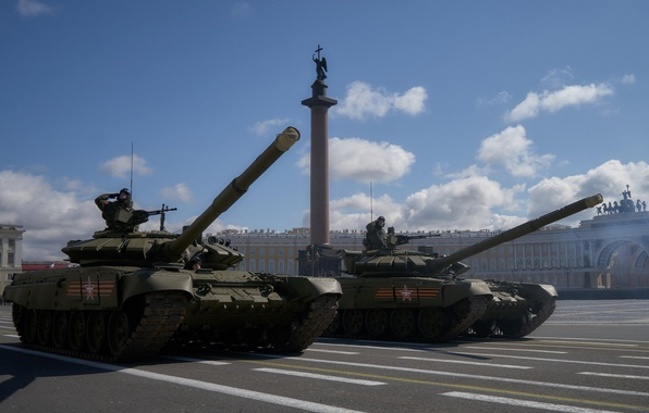 Картинка город, площадь, Санкт-Петербург, танк, боевой, бронетехника, Т-72