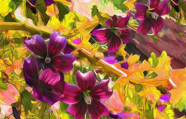 Картинка рендеринг, рисунок, растение, вектор, лепестки, луг, клумба