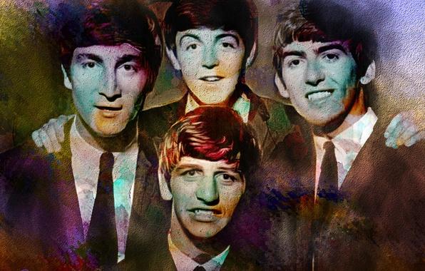 Картинка музыка, The Beatles, Джордж Харрисон, Джон Леннон, Пол Маккартни, Ринго Старр