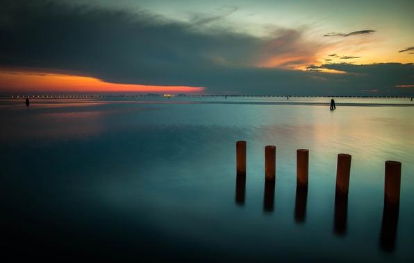 Картинка море, небо, закат, гладь, Вечер, выдержка
