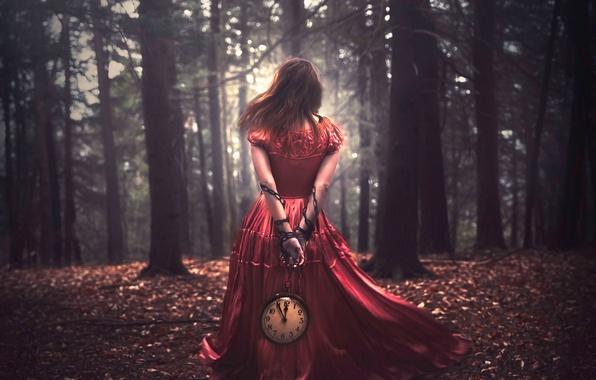 Картинка девушка, часы, цепь, Shelby Robinson, Bound by Time