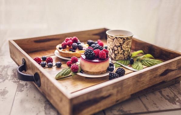 Картинка ягоды, кофе, кружка, пирожное, поднос