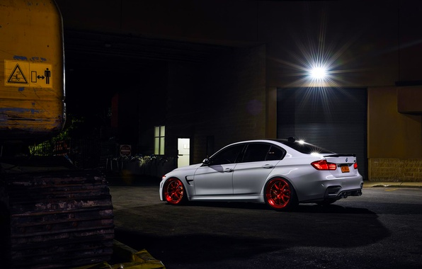 Картинка BMW, German, Red, Car, White, Wheels, Rear, Ligth