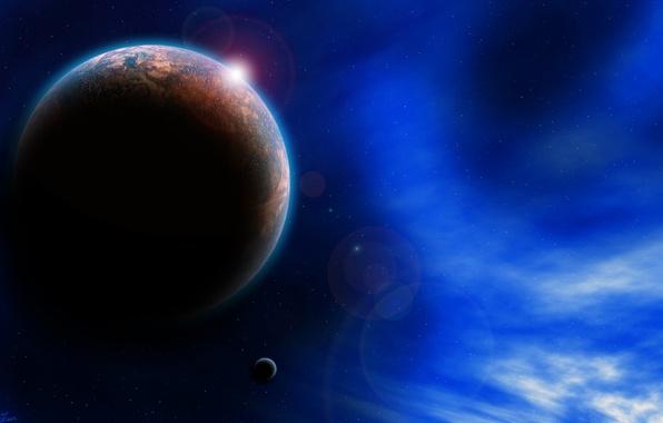 Картинка небо, звезды, свет, туманность, вселенная, планета, спутник