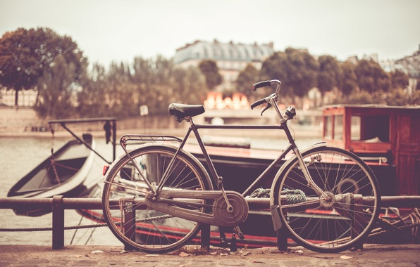 Картинка лето, велосипед, город, колесо, колеса