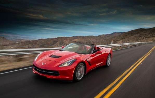 Картинка Красный, Дорога, Горы, Corvette, Chevrolet, Машина, Скорость, Red, Car, Speed, Convertible, Stingray, Корвет, Шевролет
