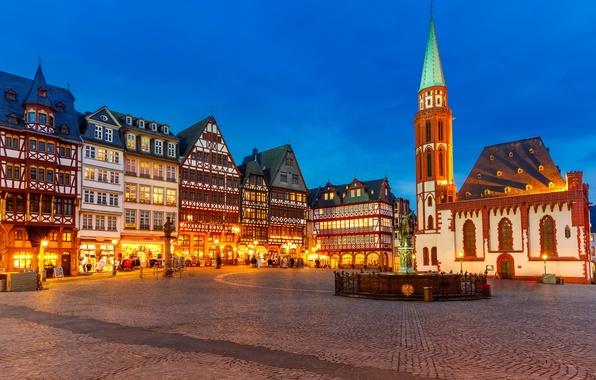 Картинка свет, город, огни, здания, дома, вечер, Германия, освещение, площадь, фонари, памятники, Deutschland, Вюрцбург, Würzburg