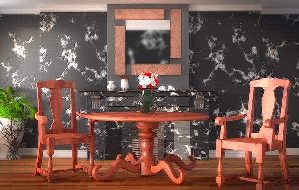 Картинка цветы, дизайн, стиль, стол, комната, мебель, стулья, интерьер