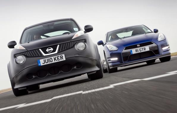 Картинка небо, синий, чёрный, Prototype, Ниссан, суперкар, Nissan, GT-R, гоночный трек, передок, and, гт-р, джук, For …