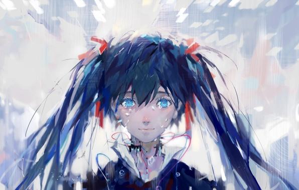 Картинка девушка, аниме, арт, vocaloid, hatsune miku, upscale, multi-monitors, dualscreen, tang elen