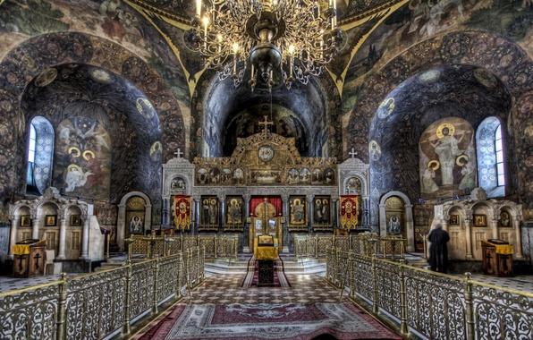 Картинка hdr, люстра, церковь, неф, иконостас
