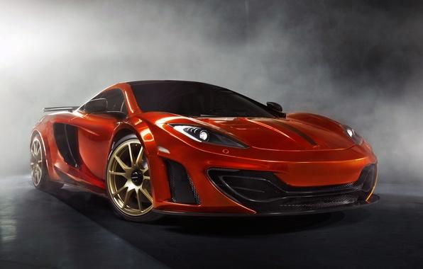 Картинка оранжевый, фон, тюнинг, дым, McLaren, суперкар, tuning, MP4-12C, передок, Mansory, МакЛарен