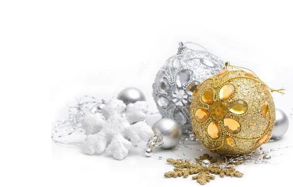Картинка шары, серебристый, Новый год, silver, золотой, gold, Christmas, New Year, Merry