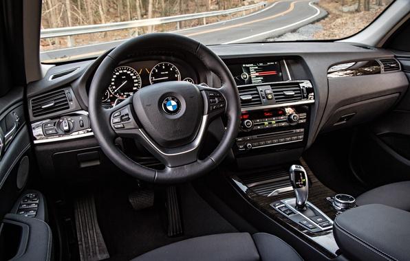 Картинка бмв, интерьер, BMW, руль, салон, кроссовер, F25