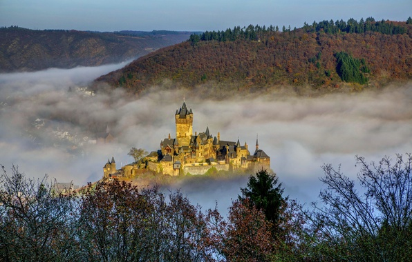 Картинка город, туман, фото, замок, Германия, Cochem, Reichsburg