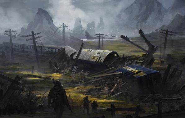 Картинка авария, война, поезд, солдат, пустош