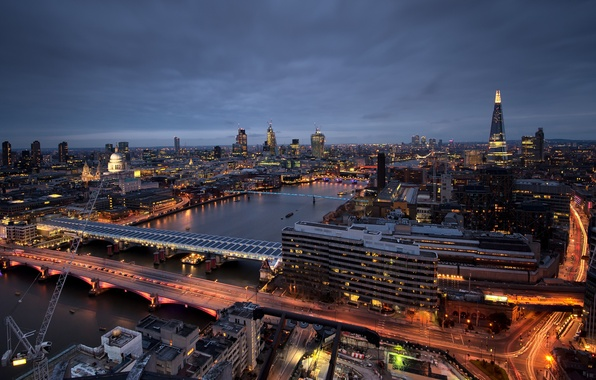 Картинка ночь, город, огни, река, вид, Англия, Лондон, здания, высота, небоскребы, выдержка, освещение, панорама, Великобритания, Темза, …