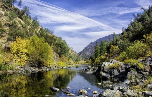 Картинка осень, небо, деревья, горы, озеро, камни