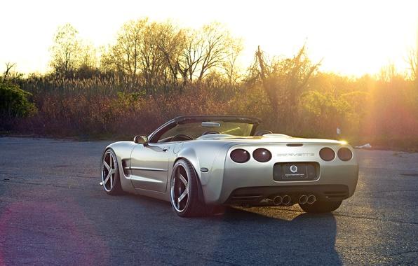 Картинка Corvette, Chevrolet, Glow, Sun, Style, Tuning, Road, Convertible, Wheels, Widebody