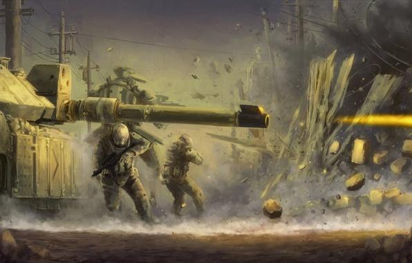 Картинка взрыв, огонь, война, забор, выстрел, солдаты, танк