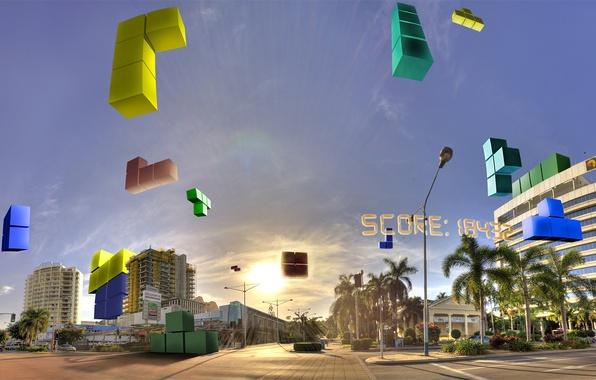 Фото обои небо, город, блоки, тетрис, score