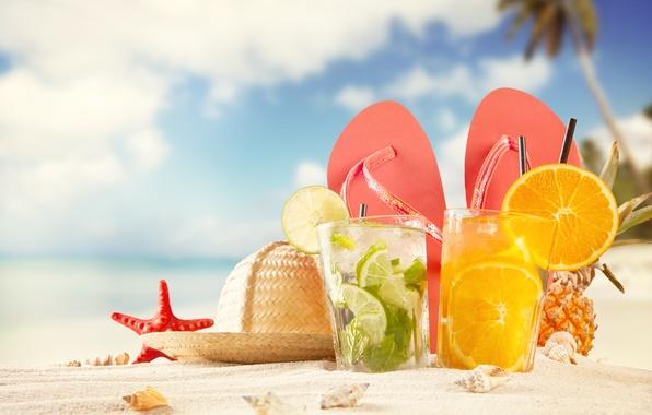 Картинка песок, пляж, лето, апельсин, шляпа, лайм, ракушки, морская звезда, summer, ананас, beach, hat, коктейли, sand, …