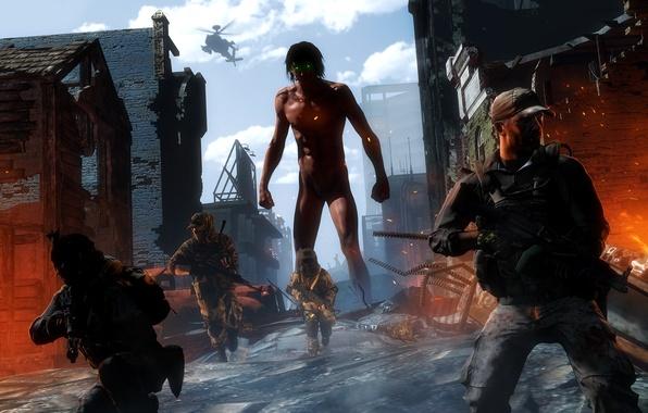 Картинка деревня, разрушение, солдаты, гигант, Shingeki no Kyojin, Eren Yeager, titan, Attack On Titan, Titan Shifter, …