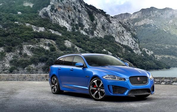 Картинка Горы, Машина, Ягуар, Красиво, Car, Автомобиль, Blue, 2015, Jaguar XFR-S