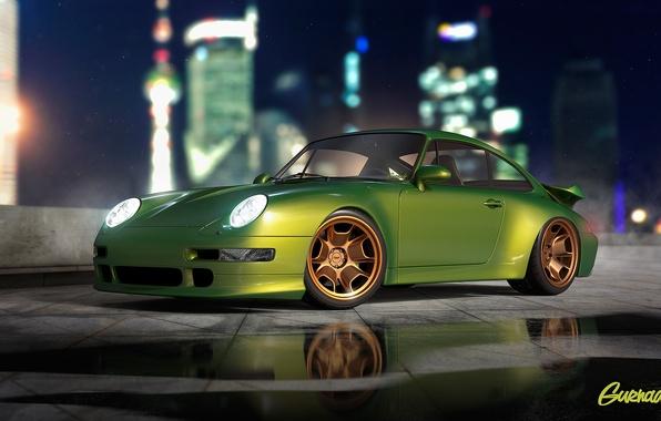 Картинка Porsche, Green, Turbo, Modern, 993, by Gurnade