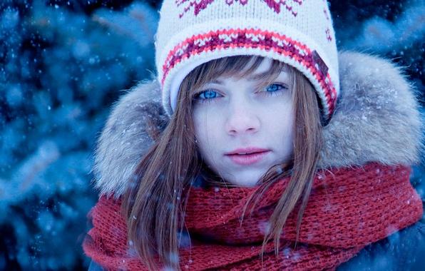 Картинка зима, снег, шапка, портрет, шарф, девочка