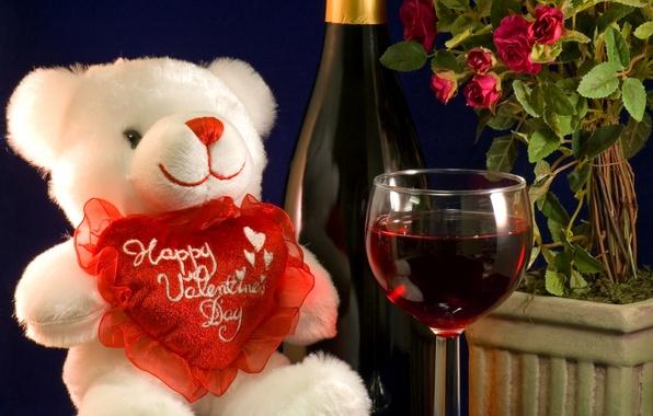 Картинка цветы, вино, бокал, мишка, сердечко, День свявтого валентина
