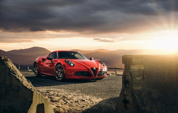 Картинка Red, Car, Front, Sunset, Sport, Launch Edition, 2015, Alfa-Romeo