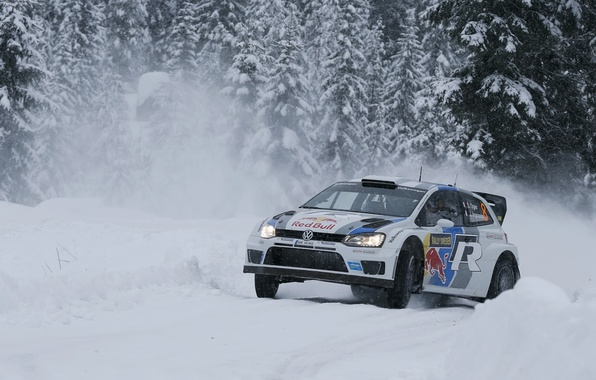 Картинка Зима, Снег, Лес, Volkswagen, Занос, WRC, Rally, Ралли, Polo
