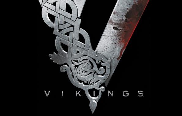 Картинка металл, черный, кровь, сериал, Vikings, Викинги