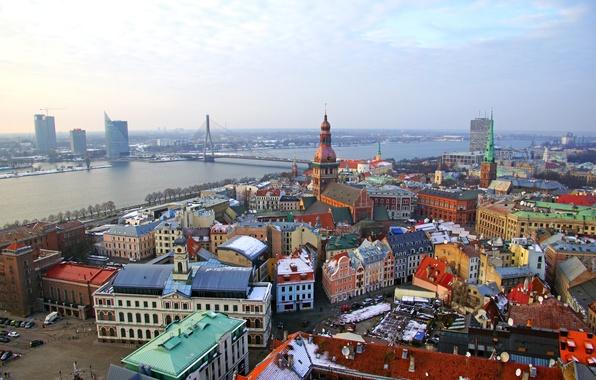 Картинка зима, мост, река, дома, Рига, Латвия, Riga
