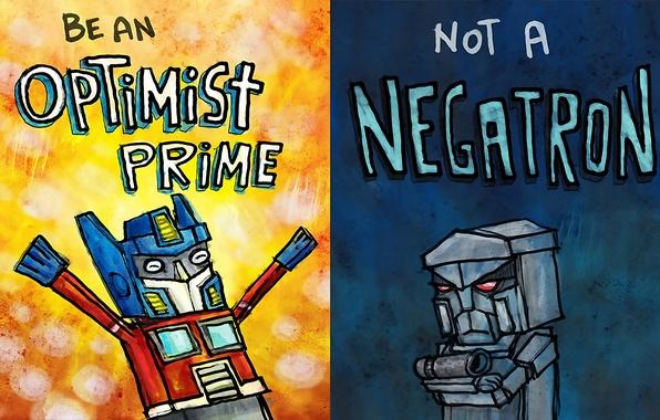 Картинка рисунок, юмор, transformers, мегатрон, оптимус прайм, оптимист, пессимист