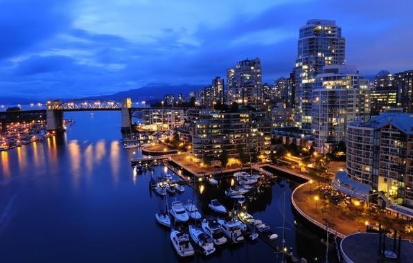 Картинка море, ночь, жизнь, огни, города, океан, вид, дома, корабли, лодки, север, канада, катера, vancouver, ванкувер, …