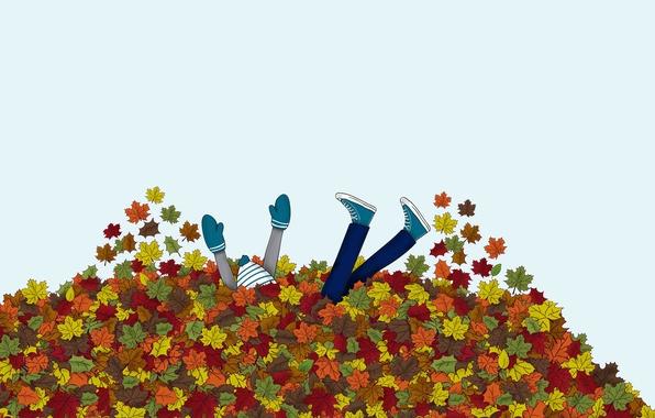 Картинка осень, листья, люди, девушки, настроение, человек, парни