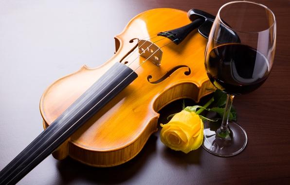 Картинка цветок, вино, скрипка, бокал, роза, желтая