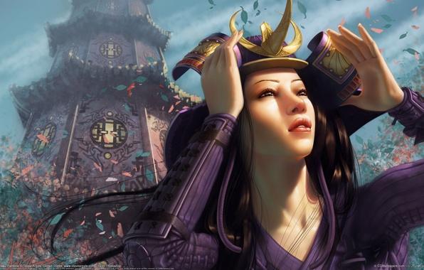 Картинка девушка, здание, башня, руки, лепестки, арт, храм, азиатка, steve argyle