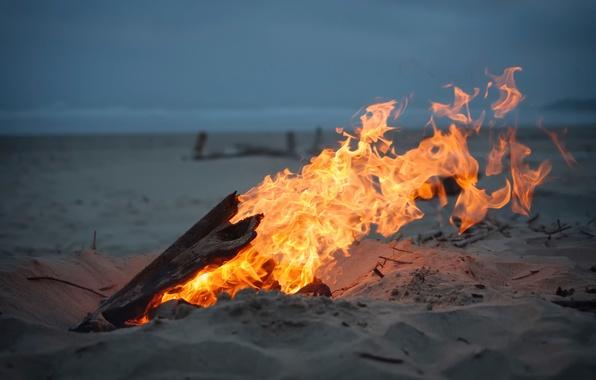 Картинка песок, огонь, костёр