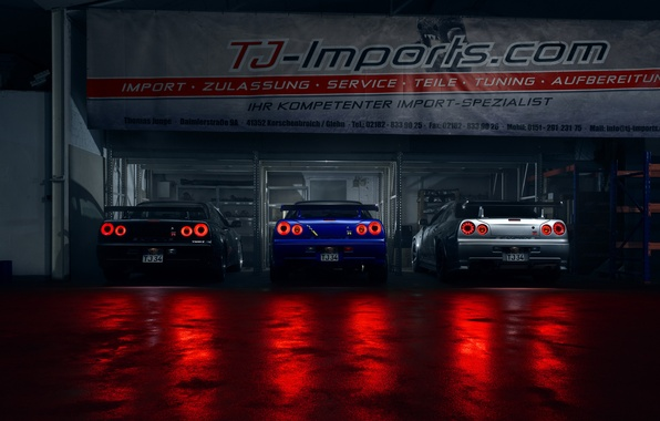 Картинка GTR, Light, Nissan, Blue, Black, Skyline, R34, Silver, Rear