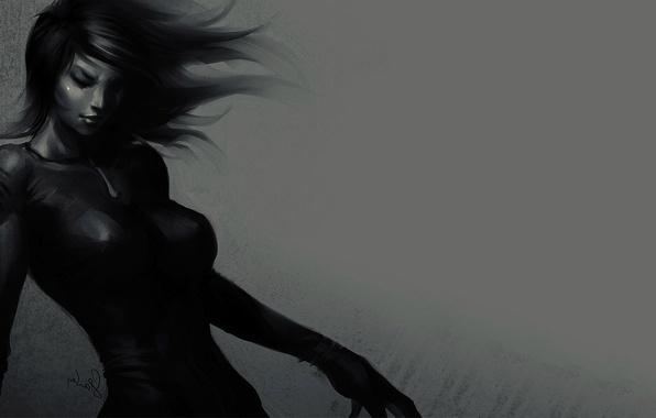 Картинка Девушка, арт, черное платье