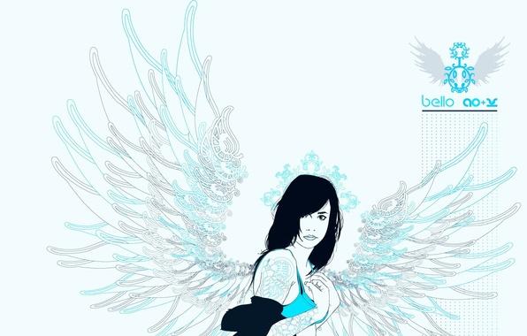Картинка узор, Девушка, крылья, точки