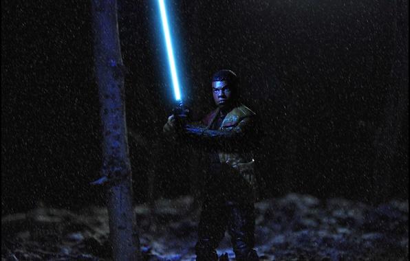 Картинка лес, игрушки, Star Wars, битва, метель, Lightsaber, Finn Galfridian