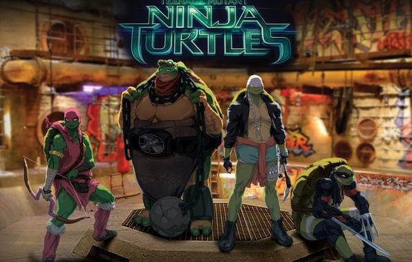 Картинка Черепашки-ниндзя, tmnt, Raphael, Leonardo, Donatello, Teenage Mutant Ninja Turtles, Michelangelo