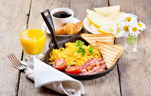 Картинка цветы, кофе, ромашки, завтрак, сок, хлеб, бекон, дыня