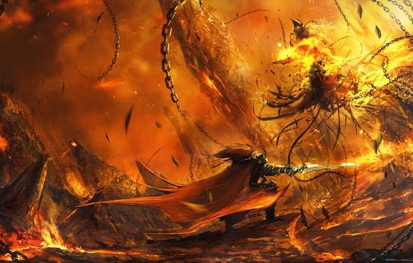 Картинка оружие, огонь, монстр, воин, арт, битва, цепи, cloudminedesign